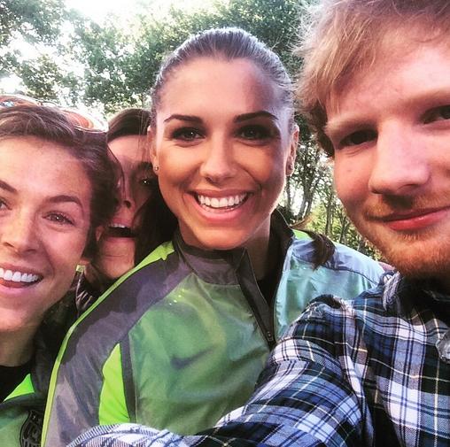 Meghan Klingenberg, Alex Morgan with Ed Sheerhan. (Instagram)