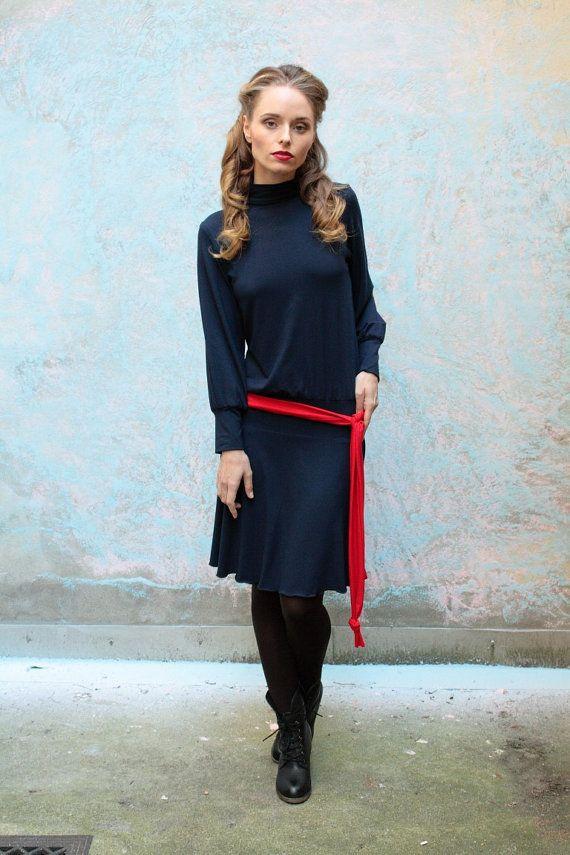 Turtleneck dress in blau oder rot, Rollkragen, Jersey ...