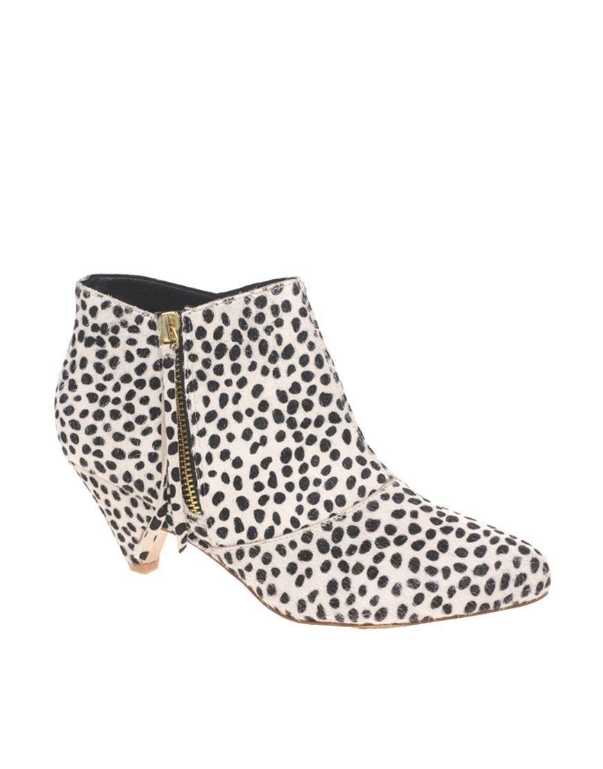 fbf21c8a43aa River Island dalmatian print low anke boots £38.50 ASOS (not this material  - shape & heel good!)