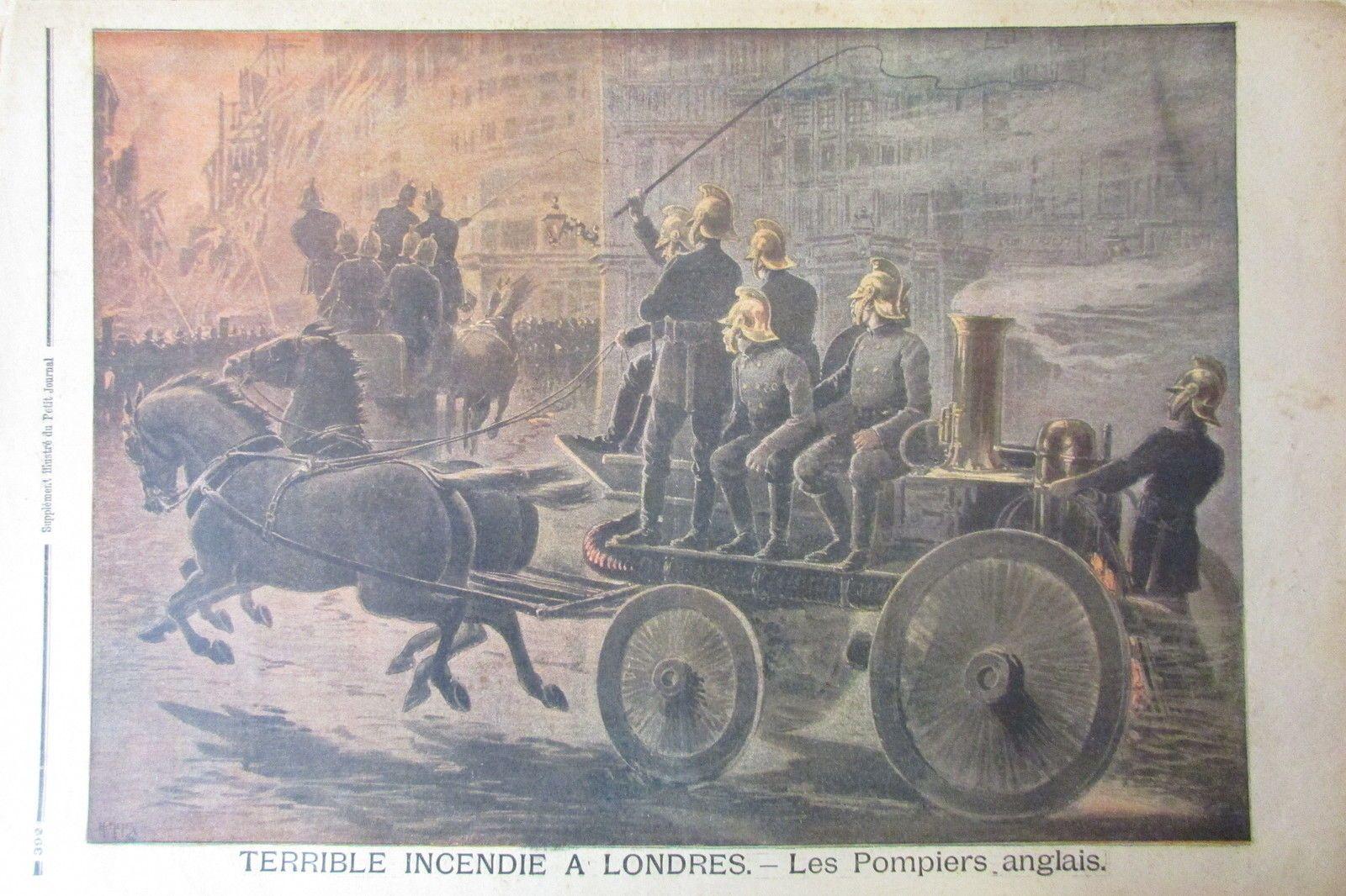Details Sur Sapeurs Pompiers Anglais Intervention Incendie Gravure Le Petit Journal 1897 Pompier Sapeur Pompier Sapeur