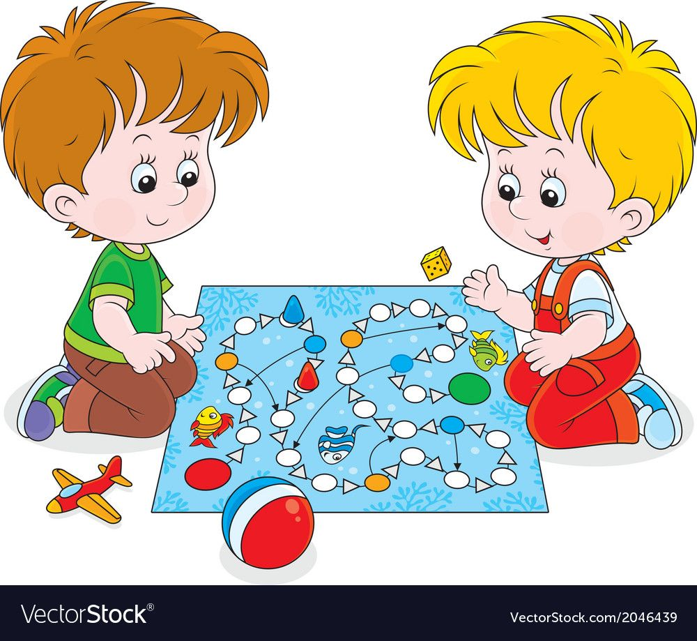 Boys playing with a boardgame vector image on Drawing