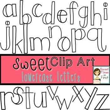 Sweet Clip Art White Lowercase Doodle Letters