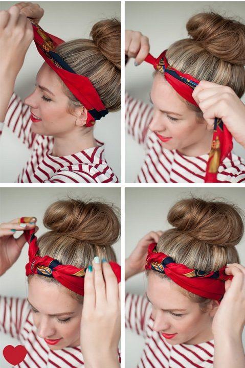 tuto coiffure bandeau cheveux nouer foulard foulard cheveux et tutorial. Black Bedroom Furniture Sets. Home Design Ideas