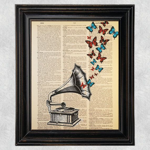 Vintage Gramophone Butterflies Print Antique Dictionary Page Wall Art Picture