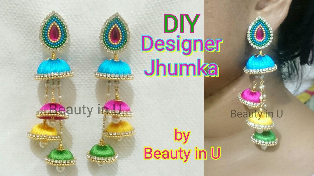 DIY | How to make Designer Silk Thread Multi Step Jhumkas at Home ...
