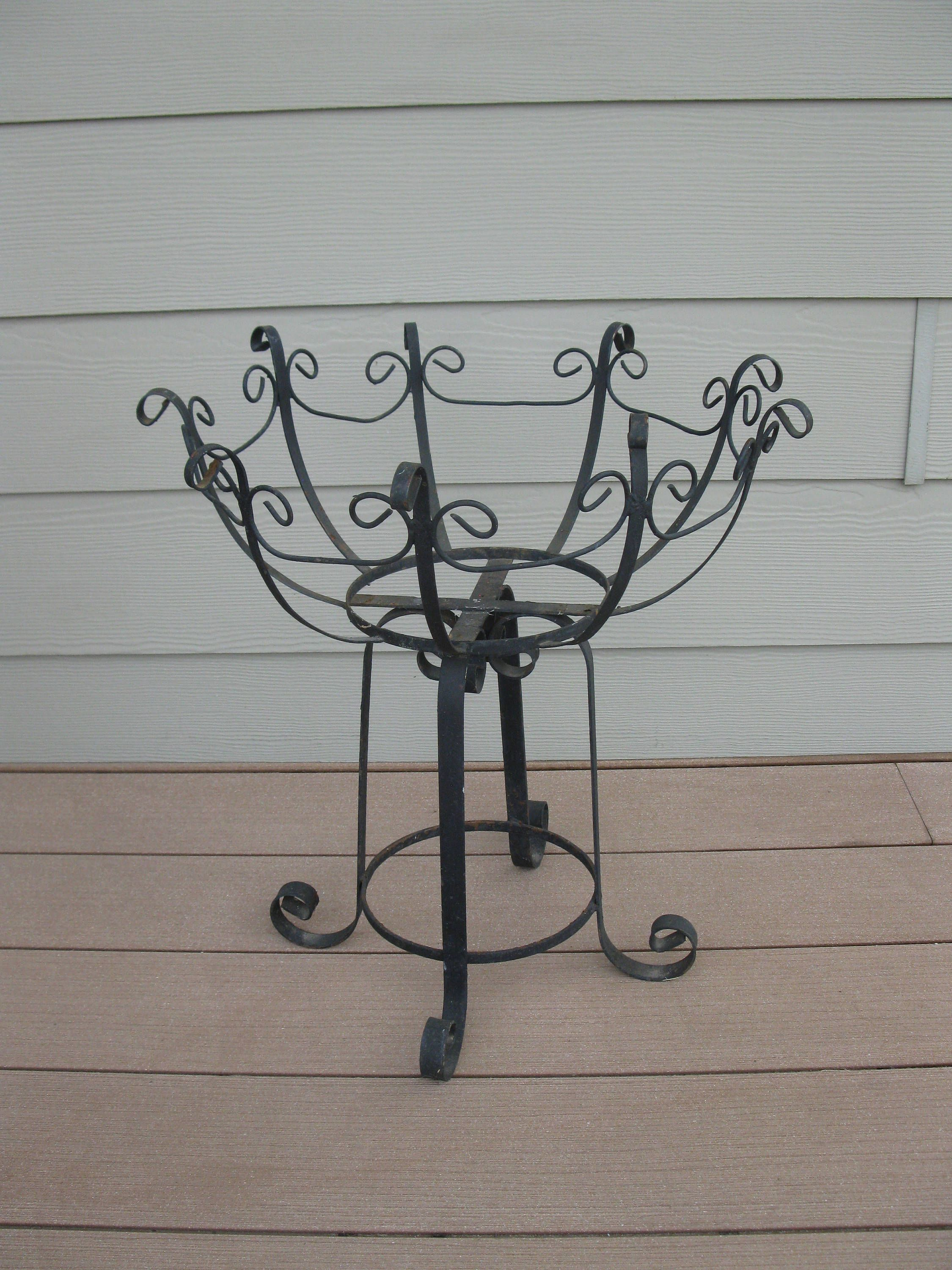 Wrought Iron Plant Stand Black Large 20 Tall Mid Century
