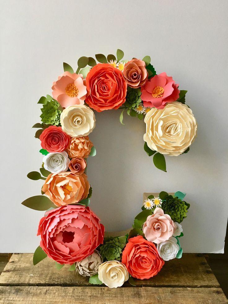 Paper Flower Letter (16) - Floral Letter - Pink Coral Paper Flower Letter - Letter Wall Hanging #paperflowercenterpieces