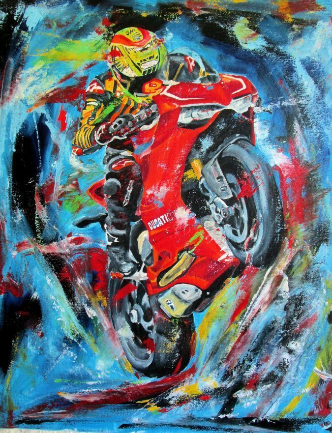 """ducati motorcycle original oil painting on canvas 16"""" x 20"""