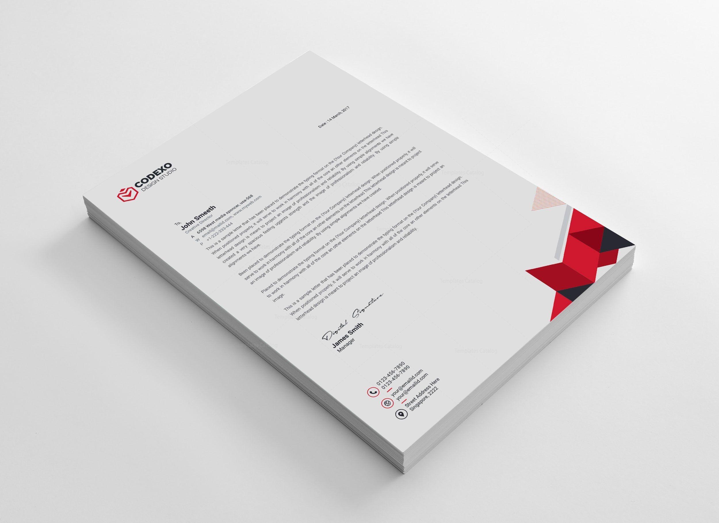 Sleek Letterhead Design 002981 Template Catalog Letterhead Template Letterhead Design Letterhead