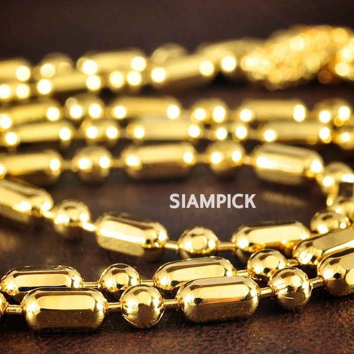 24 Inches Thai 24k Yellow Gold Baht Plated Tube Beads Chain Link