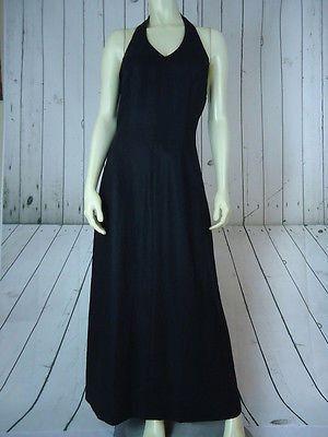 LAURA ASHLEY Halter Dress 6 NEW w/Tag Black Linen Long Maxi Lightweight Unlined