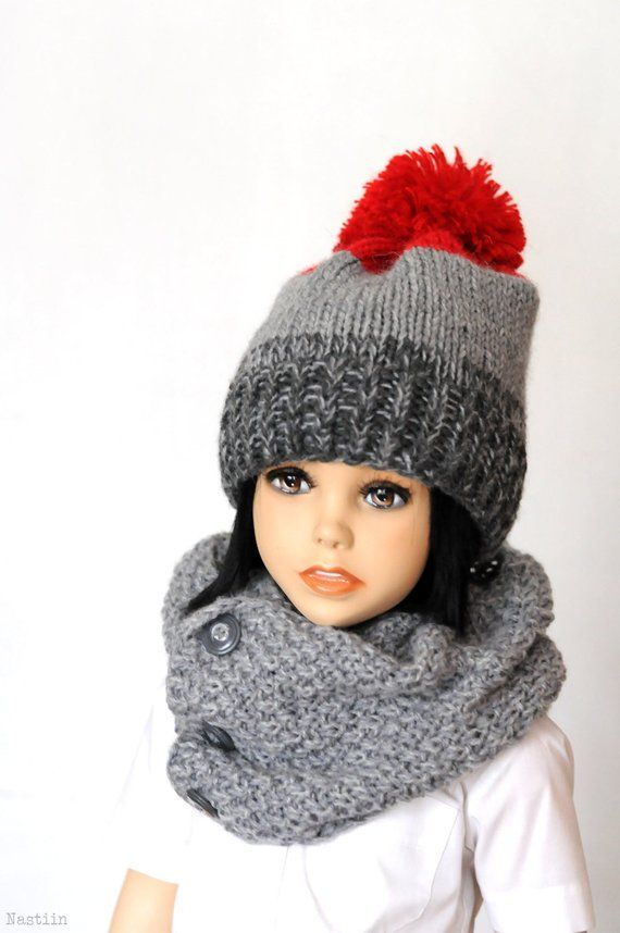Toddler pom pom hat Girls knit beanie hat Boys knitted hat Baby hat Knitted  hats for babies knit cap c3a06545bab