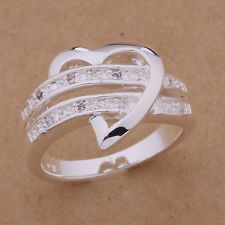 925 Sterling Silver Plated Wedding Ring Rhinestone Women US Size 6/7/8/9 Rings