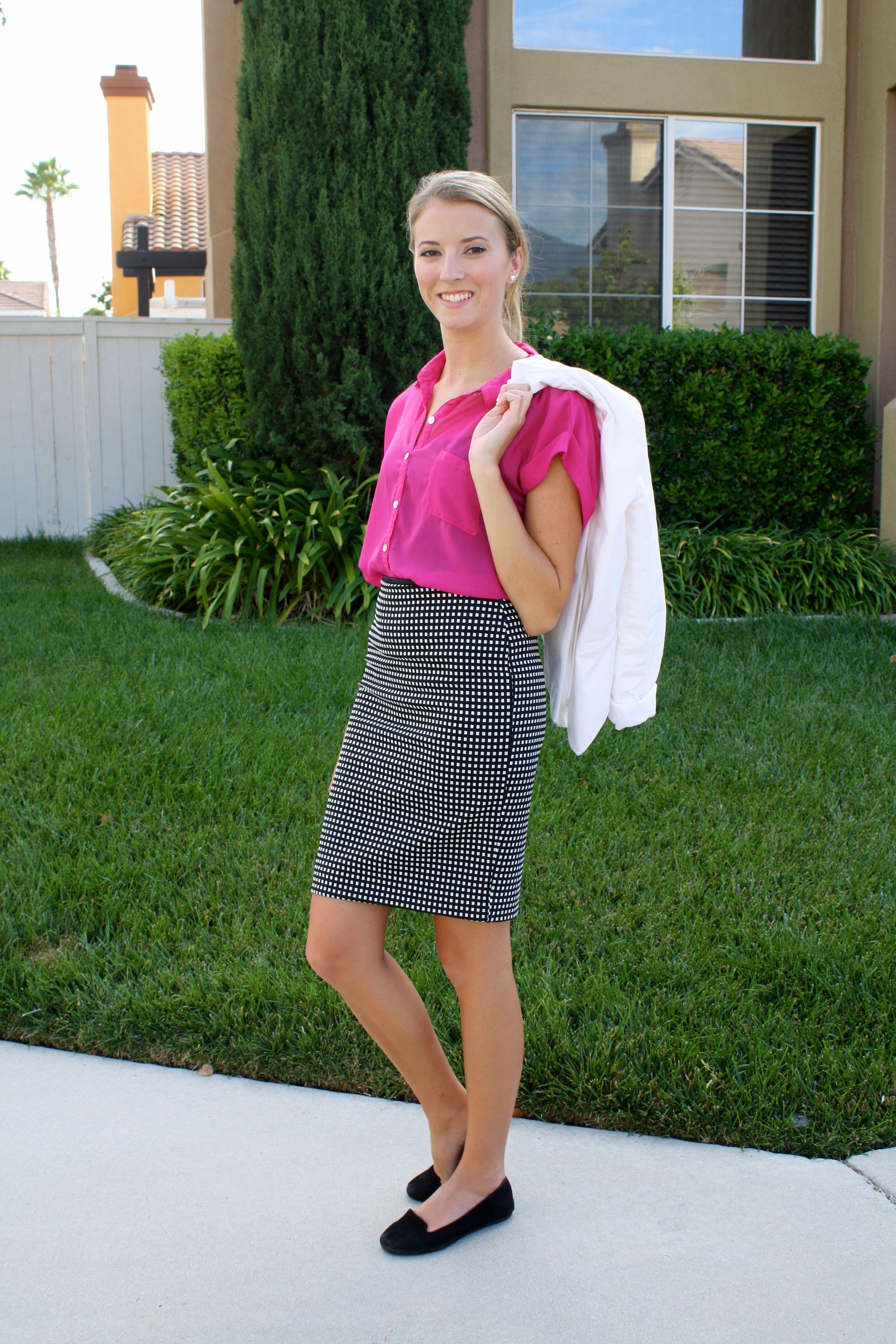 Pink top black white pencil skirt black flats working