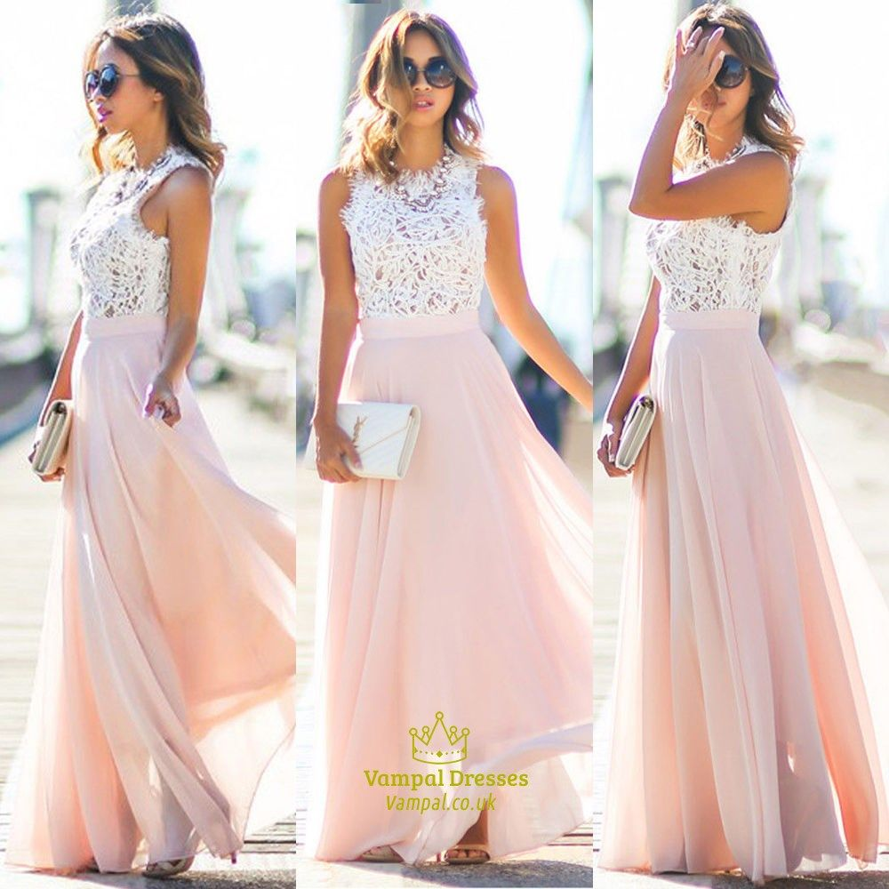 Pink Lace Bodice Chiffon Skirt A Line Long Bridesmaid Dress | Long ...