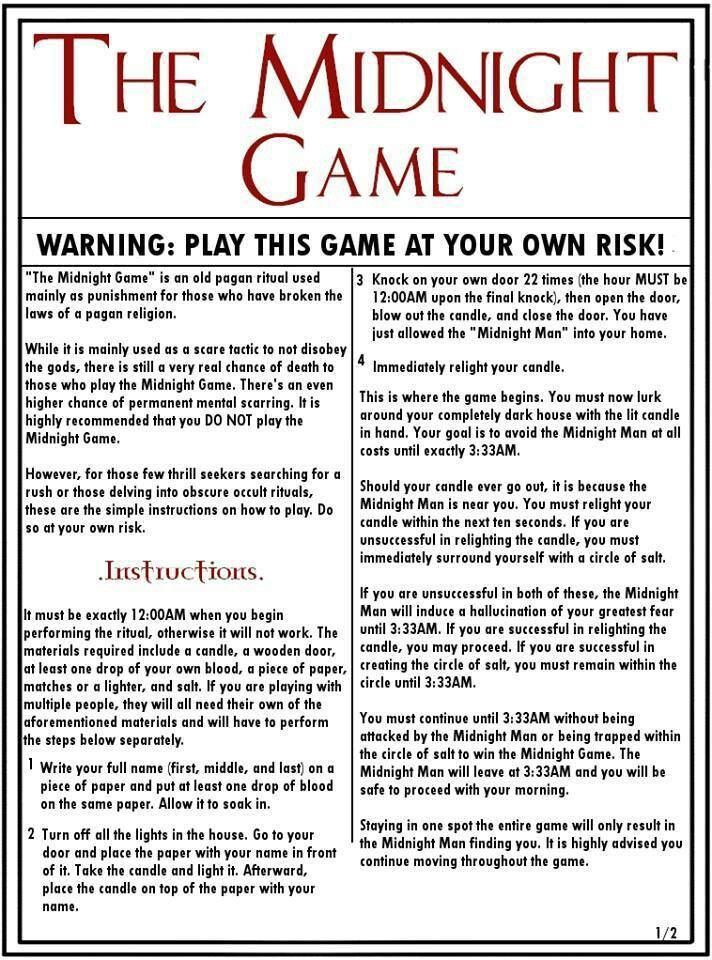 The Midnight Game O The Midnight Game Scary Games To Play