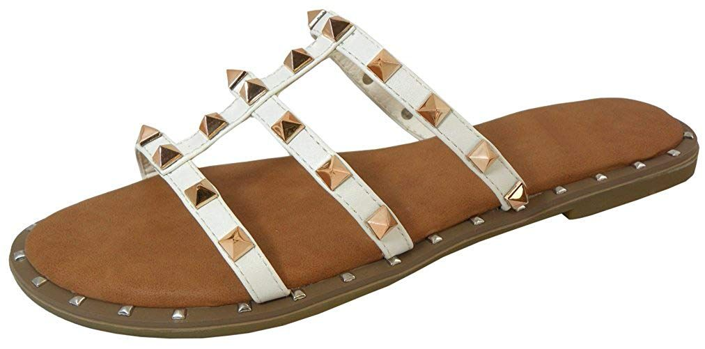 fad885844 Cambridge Select Women's Strappy Open Toe Caged Cutout Pyramid Studded Slip-On  Flat Slide Sandal >>> Thanks for viewing our picture.