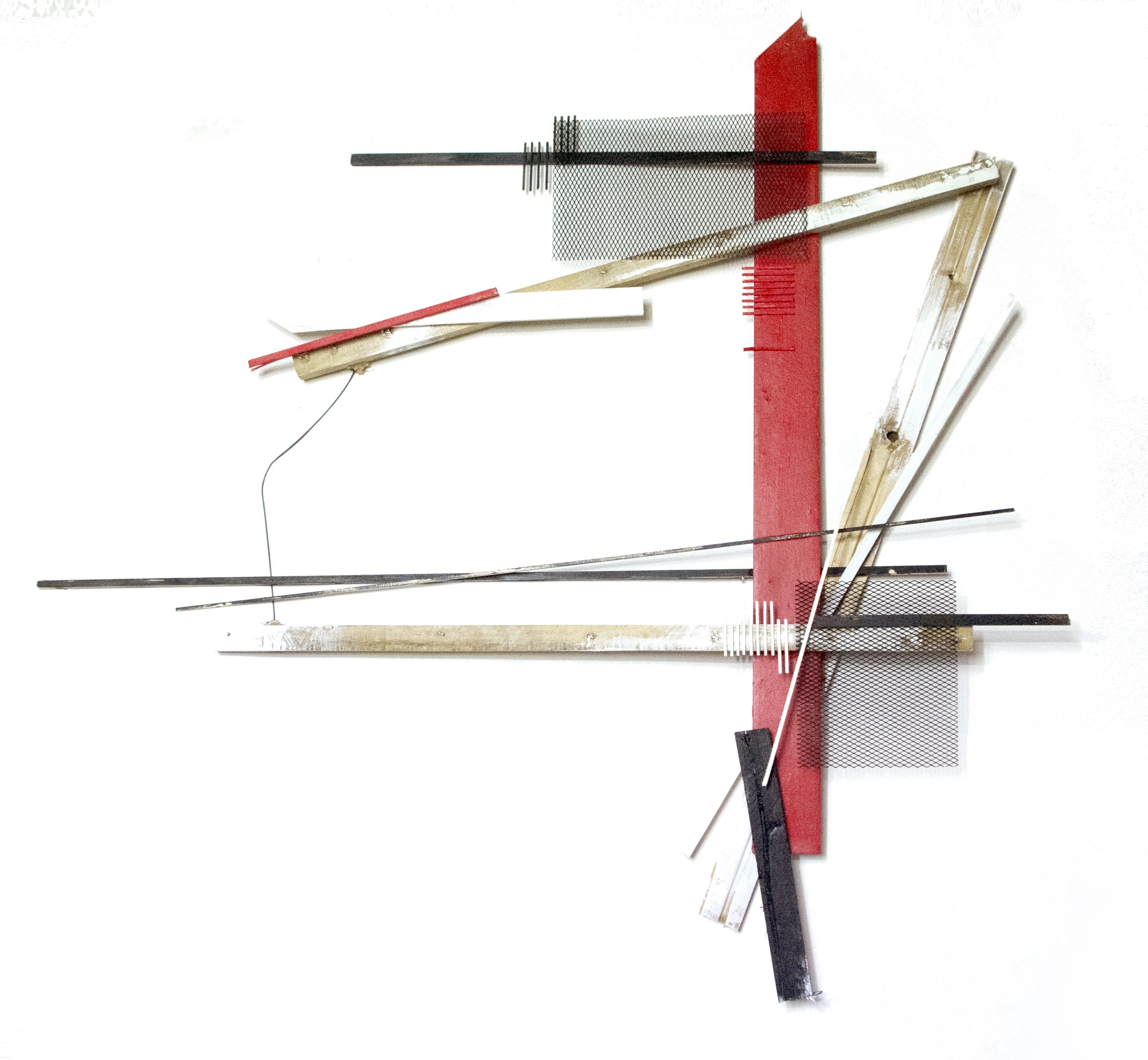 composition, wood, collage, mixed media, red&black&white _2015 by su jin kim
