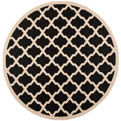 Safavieh Courtyard 7 Foot 10 Inch X 7 Foot 10 Inch Evie Indoor Outdoor Rug In Black Beige Round Area Rugs Outdoor Area Rugs Indoor Outdoor Rugs