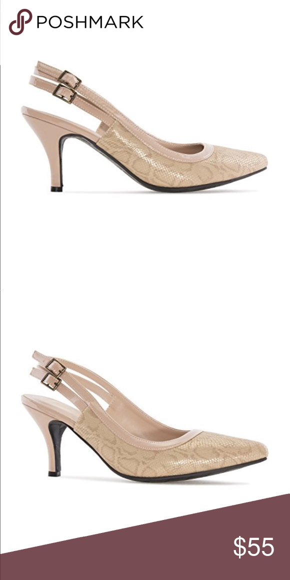 a49c1bcc852 Blush Pink Snake Print Slingback Kitten Heel Pump Slingback in beige snake  printed faux leather. Border in toned patent. Double slingback buckle  closure.