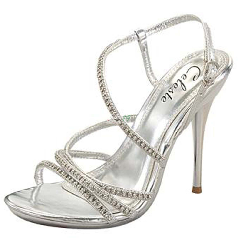 Celeste hana13 silver color evening strappy sandals