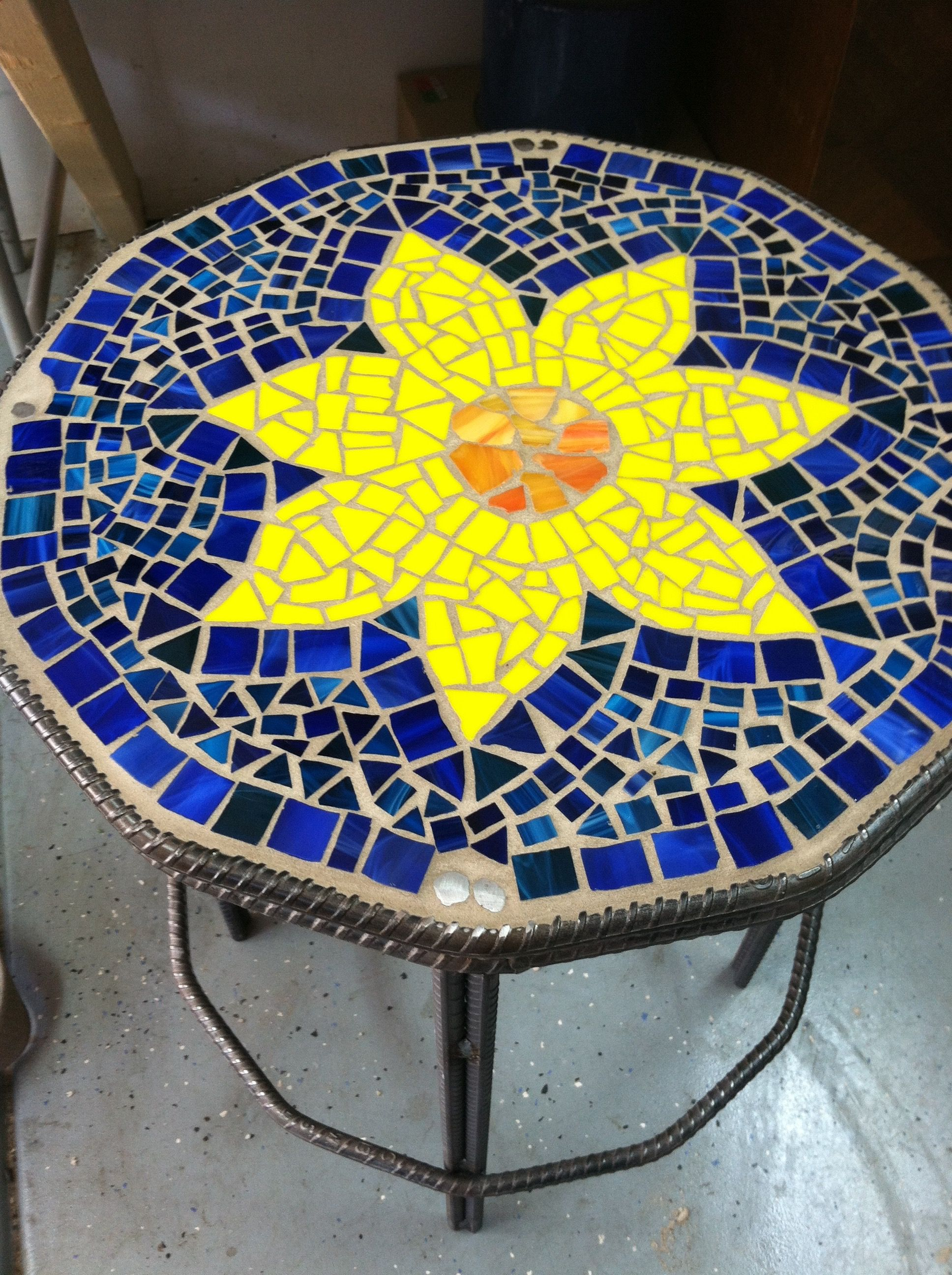 patio table made from rebar and broken glass #rebar #patiofurniture ...