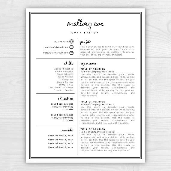 Resume Template With Icons For Microsoft Word  Mac Pages Mallory