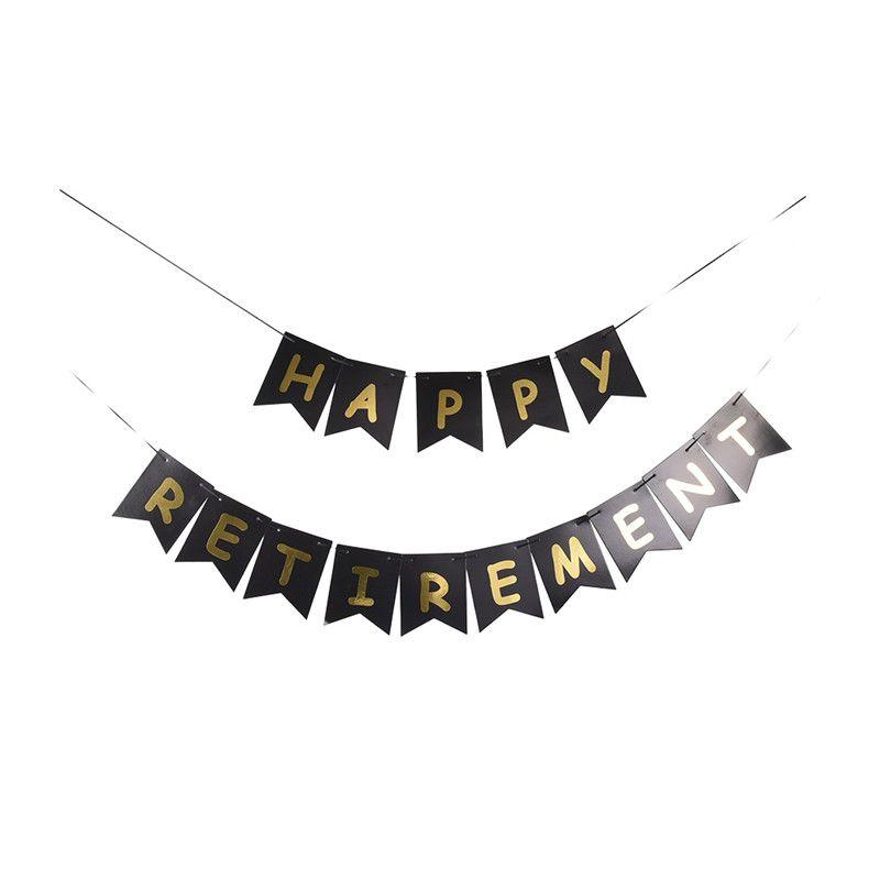 1 Set Black Gold HAPPY RETIREMENT Letter Banner Retire Party Fish - retirement letter