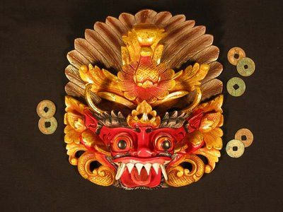 Barong Mask from Indonesia  Barong is a tangible assets of a protective spirit which guards people from evil influences. Mask is stored in the village temple, the Barong deity comes to earth during ceremonies and enters the body of a follower. The follower starts to move in a exotic way.