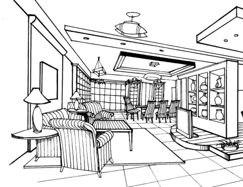 Large Living Room Coloring page | Große wohnzimmer ...