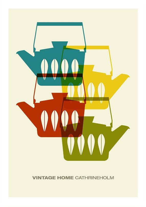 Vintage Posters For Kitchen Ashley Furniture Island Cathrineholm Poster Print Mid Century Modern Home Art Coffee Tea Cathrinehol