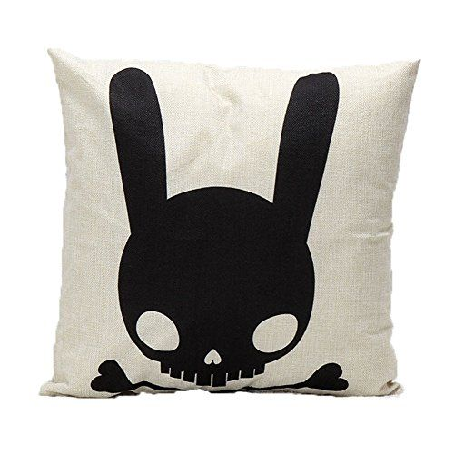 Ikeelife Modern Soft Throw Pillow Case Cushion Cover Pillowslip Home Decor Rabbit Skull Black 454503cm *** This is an Amazon Affiliate link. Click on the image for additional details.