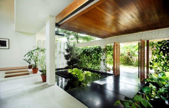 Innenarchitektur Haus Bilder mdernes haus innenarchitektur teich innen begrünte wände brücke
