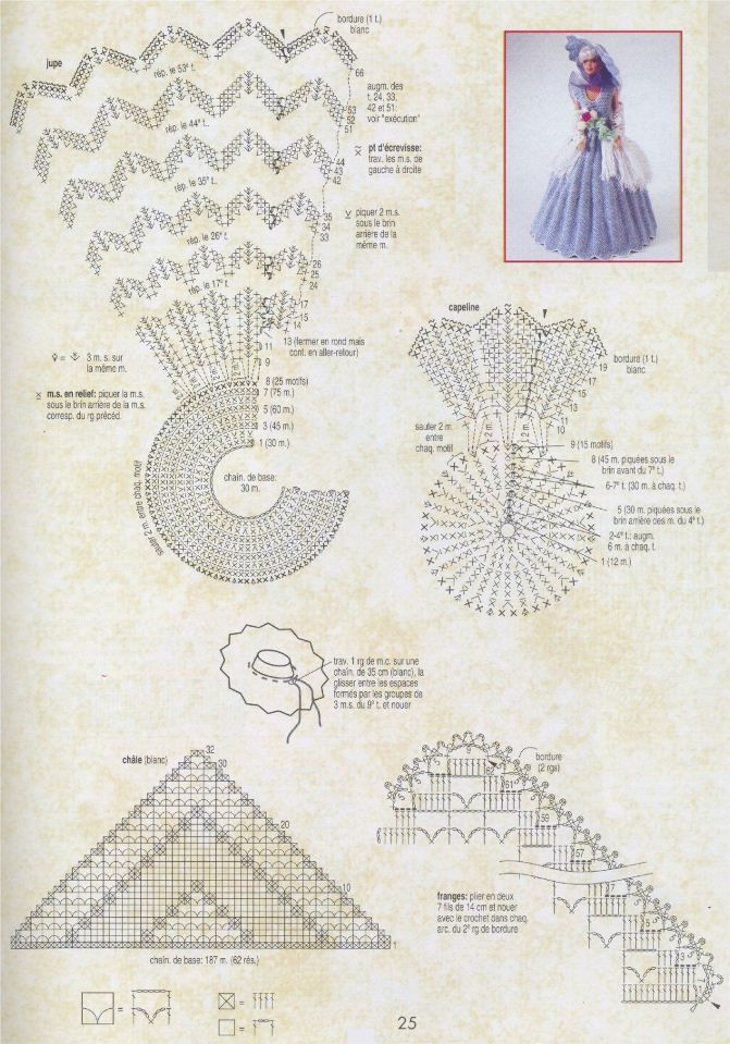 вязание для барби крючком со схемами