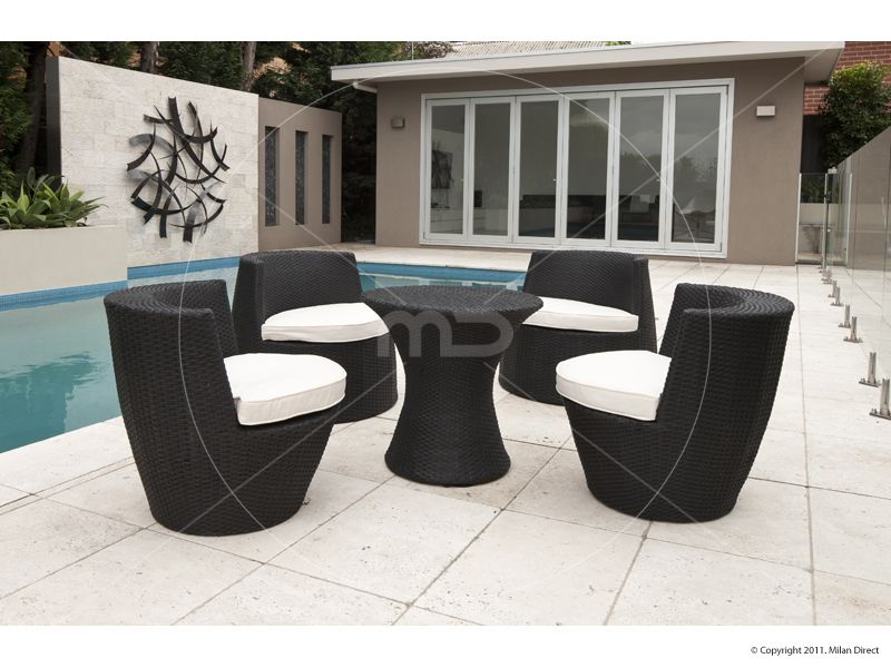 Outdoor Rattan Wicker Stacking Tower - 5 piece set - Black Stacks up