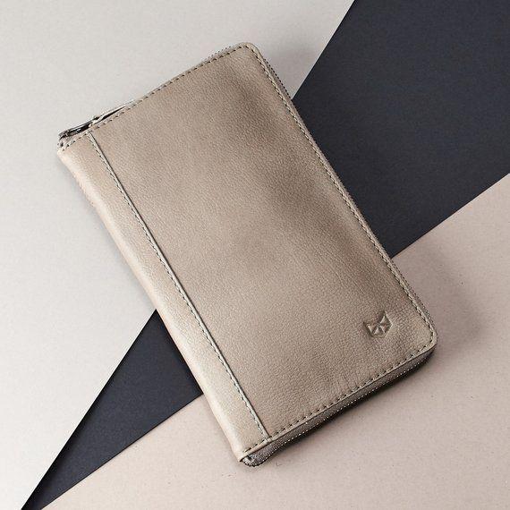 9e1cca4f0e2a Grey Leather Travel Document Organizer, Men Passport Wallet ...