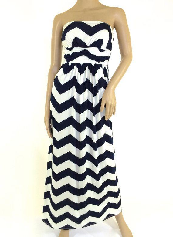 Plus Size Chevron Maxi Dress Navy White Clothing Outfits