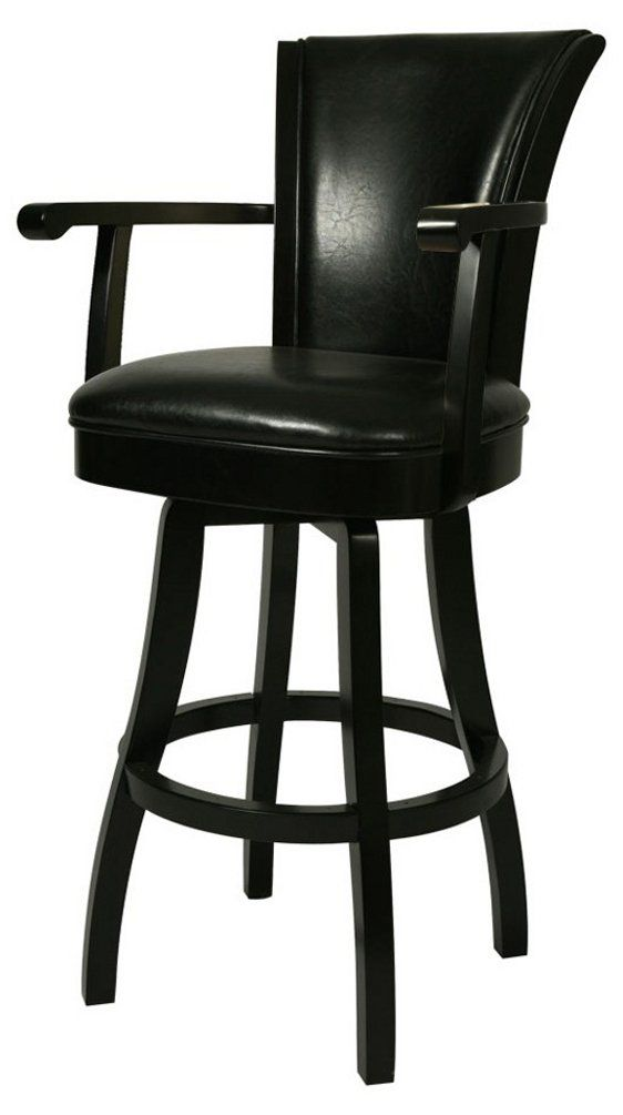 Pastel Furniture Gl 217 30 Fb 865 Glenwood Swivel Barstool With Arms 30 Inch Feher Black And Black Leather Black Wood Bar Stool Wood Bar Stools Bar Stools