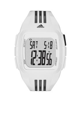 adidas  White and Black Polyurethane Duramo Digital Watch