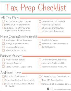 Free Tax Prep Checklist Tax Prep Checklist Tax Prep Tax Checklist