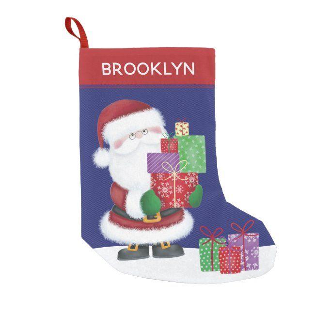 Personalize Santa Small Christmas Stocking #personalize #christmas #santa #stocking #kids #SmallChristmasStocking