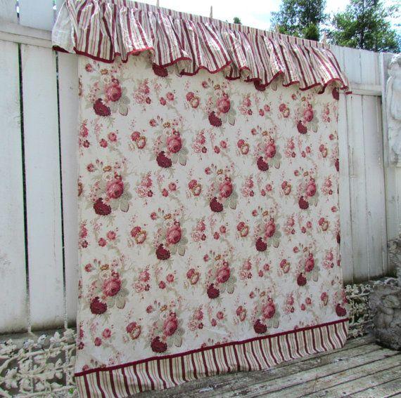 Waverly Norfolk Rose Ruffled Striped Shower Curtain RARE   Norfolk ...