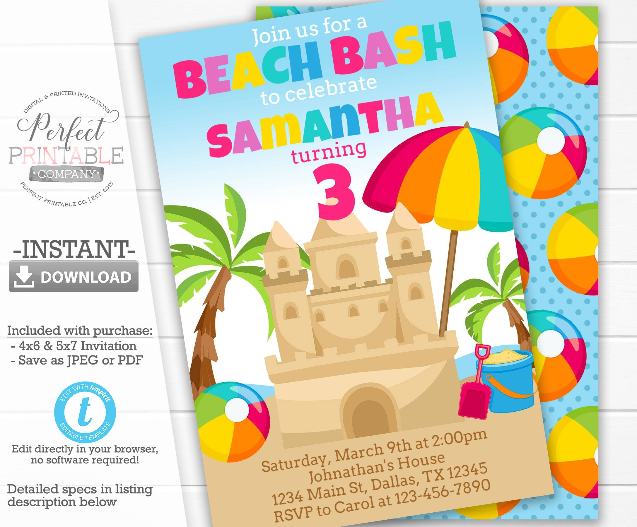 Sandcastle Birthday Invitation, Sandcastle Invite, Beach