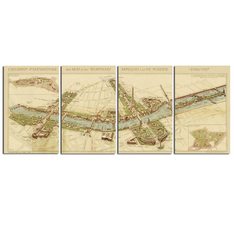 Uttermost 31502 Paris Map Wall Art S/4 | Paris map and Products