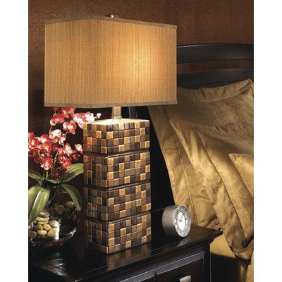 "Signature Design by Ashley Helki 30.25"" H Table Lamp with Rectangular Shade"