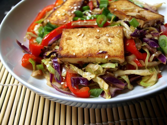 THE SIMPLE VEGANISTA: Spicy Stir-Fried Cabbage, Tofu and Red Pepper + Soy Awareness