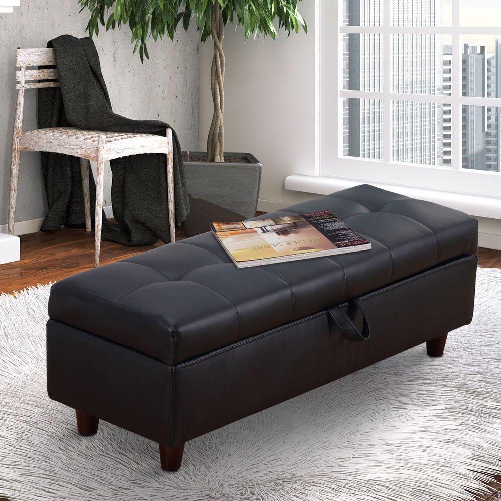 Terrific Ottoman Stool Bench Black Leather Wooden Hallway Bedroom Evergreenethics Interior Chair Design Evergreenethicsorg