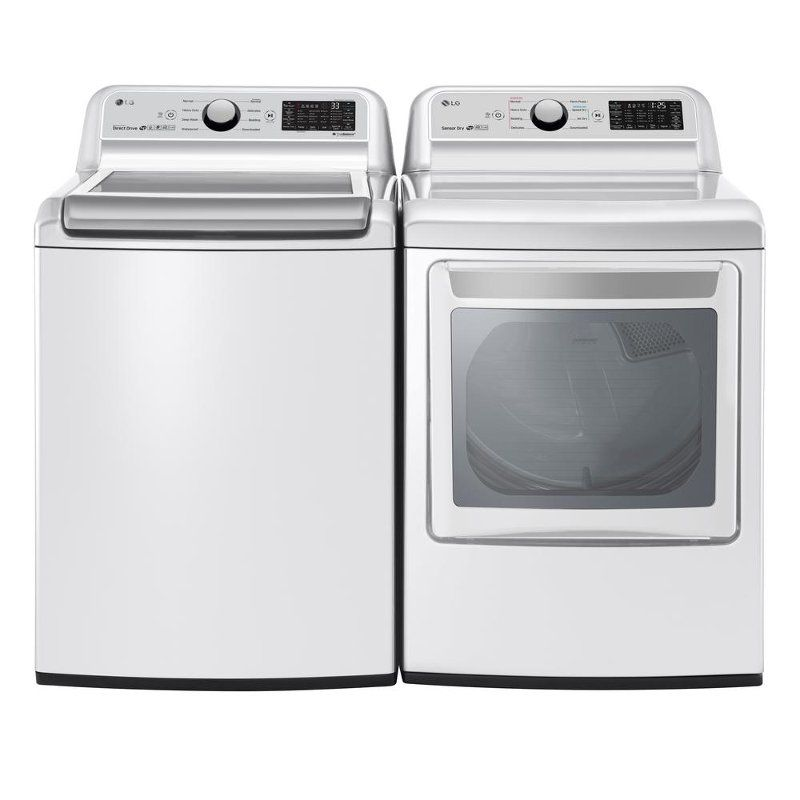 Lg Rear Control Electric Laundry Pair White Lg Washer Dryer New Washer Dryer Washer Dryer