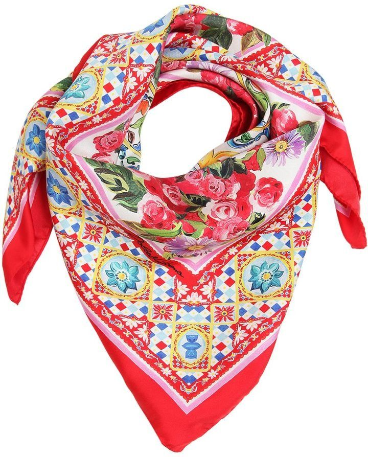 5916f986b Flower Printed Silk Twill Square Scarf by Dolce & Gabbana on ShopStyle