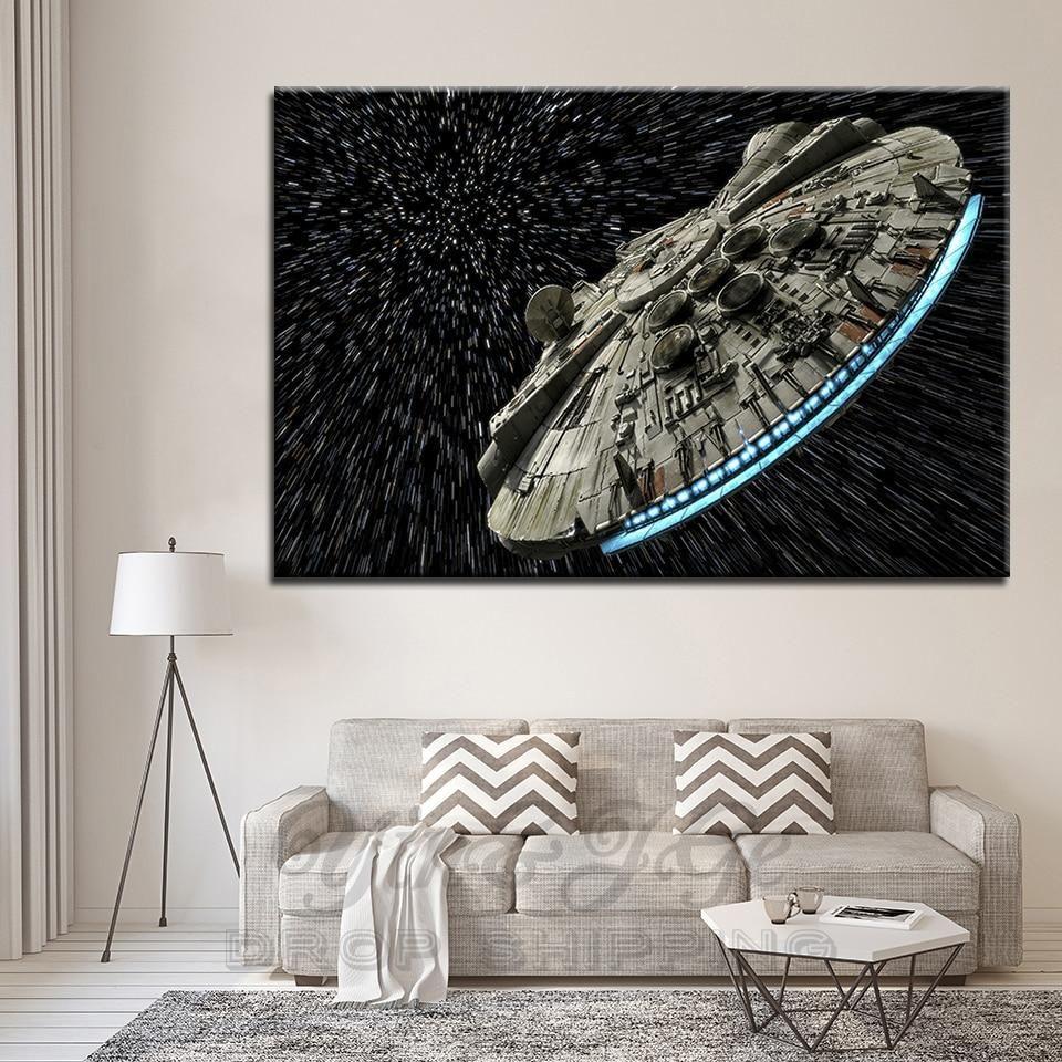 Star Wars Millennium Falcon At Lightspeed Star Wars Canvas Art Star Wars Canvas Painting Custom Canvas Prints